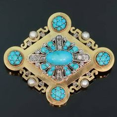 Victorian Gold Brooch Turquoise Pearls and by adinantiquejewellery, $3540.00