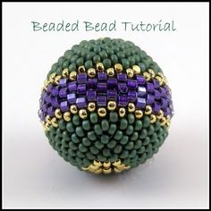 Tutorial  Round Beaded Bead Peyote Stitch  - instant download pdf pattern with photos and instructions via Etsy