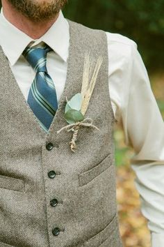 Rustic Fall Wedding in South Carolina (Fall, attire, blue, boutonniere, boys, emerald, flowers, groom, grooms, groomsmen, him, men, party, eggplant) — Loverly
