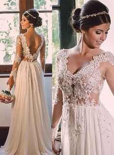 Elegant A-line Wedding Dresses Long Sleeves V-Neck Lace Chiffon Beading Spring Bridal Gowns