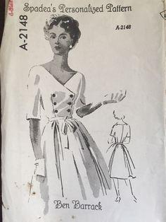 Vintage Spadea Ben Barrack Sewing Pattern Double Breasted Dress A-2148 Sz 10 FF