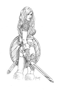 Bergdis by MitchFoust.devian… on – Norse Mythology-Vikings-Tattoo Norse Tattoo, Viking Tattoos, Adult Coloring Book Pages, Colouring Pages, Viking Art, Viking Warrior, Woman Warrior, Female Viking, Xena Warrior