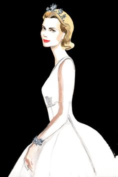 wwd:  A sketch of Grace Kelly in Dior's design for the amfAR auction with Harry Winstonjewelry.