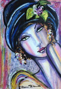 Portrait art deco painting - original oil painting on paper by Dam Domido de la boutique DamDomidoATELIER sur Etsy