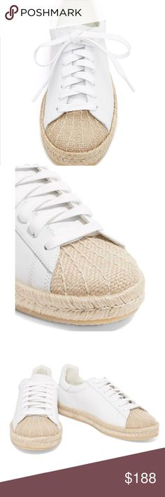Alexander wang white espadrille sneakers The material is leather. They're made in spain. The sole is some kind of rubber. It feels like walking on something soft. Very comfy. I bought these sneakers because i loved the style. They didn't have my size so I ordered a bigger size. But they look big for my feet. I am usually a size 8 . These are size 39 or 9. I can't return them. This is final price, so please no offers. Just trying to get some of my money back. Let me know if you have more…