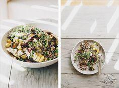 Roasted Vegetable & Quinoa Bowl // delicata squash, fennel, Brussels sprouts, carrot, baby kale, quinoa, feta