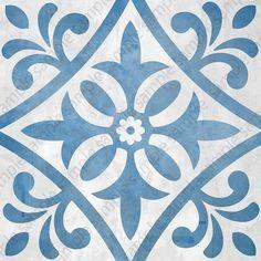 Mosaic tile wall art set of 4 square posters, Digital tiles, Geometric prints, printable blue and gray wall decor Stencil Patterns, Stencil Designs, Tile Patterns, Tile Art, Wall Tiles, Art Zen, Paper Flower Patterns, Grey Wall Decor, Metal Art