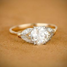 Edwardian Style Engagement Ring. Old by EstateDiamondJewelry