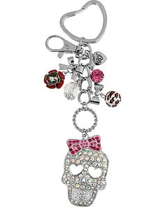 CRYSTAL SKULL KEYCHAIN PINK accessories misc. gifts no sub class
