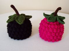 Baby Raspberry or Blackberry Hat - Newborn, 3 to 6 Months, 6 to 12 Months - Black, Hot Pink - Fruit, Berry, Harvest