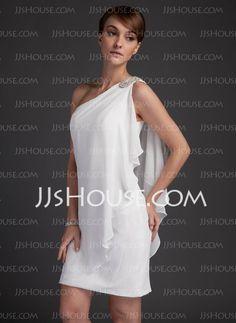 Wedding Dresses - $117.29 - Sheath/Column One-Shoulder Short/Mini Chiffon Satin Wedding Dresses With Beadwork (002011748) http://jjshouse.com/Sheath-Column-One-Shoulder-Short-Mini-Chiffon-Satin-Wedding-Dresses-With-Beadwork-002011748-g11748