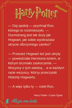 Kpiące żarty, cięte riposty, humor i zabawne docinki – czyli najlepsze cytaty Rona Weasleya z książek o Harrym Potterze | Historia Hogwartu i Hermiona #HarryPotter #cytat #cytaty #książki Harry Potter Mems, Harry Potter Film, Harry Potter Quotes, Harry Potter Fan Art, Harry Potter Fandom, Harry Potter World, Jily, Drarry, Draco Malfoy