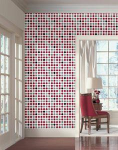 Wall In A Box WIB1012 Retro Dots Wallpaper, Silver Metallic, Scarlet Red, Gloss Black, Steel Gray - Amazon.com