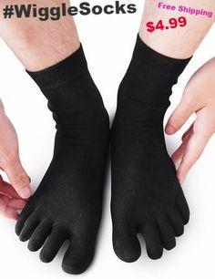 Wiggle Socks From Cerkos: Unisex Comfortable Toe Socks, Toe socks for men, toe socks for women, five finger socks, 5 Toe Socks for Men/Women (1 Pair)