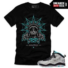 Lady Liberty 10s matching sneaker tees shirts | Liberty Muertos Streetwear Sneaker Tee Black | Sneaker Tees | Streetwear | Online Shopping | Sneaker Match Tees | Jordan Retros Match