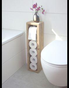 **Toilettenpapierhalter, Toilettenpapierständer, Klopapierhalter, H/B/T 65/16/13cm, im angesagten shabby chic. Handgearbeitet aus recycelten Vollholzdielen. N E U: Die Rollenstange hällt nun...