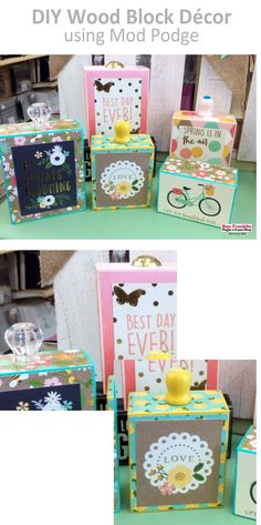 Newest Photographs Wood block crafts spring Ideas There are several uses for timber text letters including making use of them pertaining to projects o Wood Block Crafts, Wood Blocks, Wood Crafts, Paper Crafts, Vbs Crafts, Crafts For Kids, Mod Podge On Wood, Decoupage Wood, Mod Podge Crafts