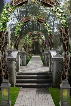 I am working on creating an #organic #entrance with branches and #flowers. What do you think? Should I use more flowers? #PrestonBailey #WeddingInspiration