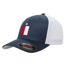 076d73b56f6 Navy Texas Flag Mesh Flexfit Premium Yupoong Adult Retro Trucker Cap Hat  6606 Texas Flags