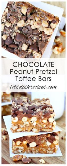 Chocolate Peanut Pretzel Toffee Bars Recipe: Caramel, peanuts, two kinds of chocolate, pretzels and toffee bits all come together in this amazing bar cookie! #bars #toffee