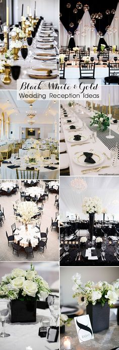 Inspring black, white and gold wedding reception decorating ideas
