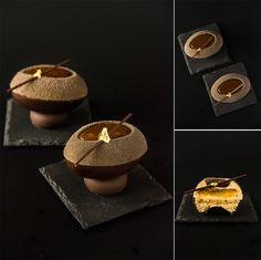 """Nina Tarasova. Individual cake """"Easter egg"""". Composition: hazelnut praline sponge cake; chocolate mousse praline; lemon confit; grapefruit cremeux with passion fruit; chocolate jelly for decoration."""