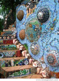 Treetanic bar, Utila Island, Honduras.   Mixed media:  tile, tesserae,shells, china, marbles, ceramic pots?