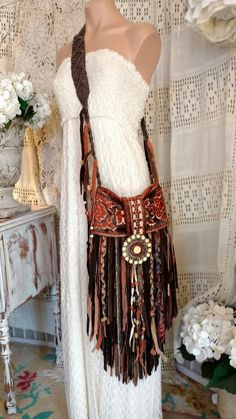 Handmade Brown Suede Leather Fringe Cross Body Bag Hippie Boho Hobo Purse tmyers #Handmade #MessengerCrossBody