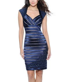 Take a look at this Navy & Nude Cutout Dress - Women by Decode 1.8 on #zulily today! Gillian would look amazing in this!
