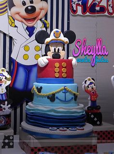 4th Birthday Parties, 3rd Birthday, Birthday Ideas, Mickey Mouse Marinero, Nautical Mickey, Birthday Cake For Him, Lion King Cakes, Mickey Mouse Cake, Holidays And Events