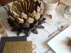 Centro de servilletas en marrón combinado