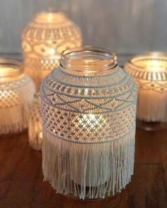 How to Display Macrame Decor in Your Home porta velas votivas de macramé Macrame Design, Macrame Art, Macrame Projects, Micro Macrame, Diy Projects, Macrame Knots, Macrame Modern, Sewing Projects, Pot Mason Diy