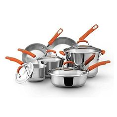 Modern Stainless Steel 10-piece Kitchen Cookware Set ** You can find out more details at the link of the image.
