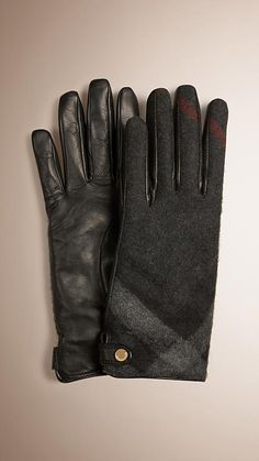 Burberry Elegant smooth leather gloves with check cashmere panel. Press-stud closure and cashmere lining. Discover more accessories at Burberry.com