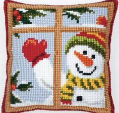 Cross Stitch Pillow Mat Diy Craft Christmas By Latch Hook Kit Needlework Crocheting Counted Cross Stitch Kits, Cross Stitch Charts, Cross Stitch Patterns, Embroidery Kits, Cross Stitch Embroidery, Cross Stitch Numbers, Cross Stitch Cushion, Needlepoint Kits, Needlepoint Pillows