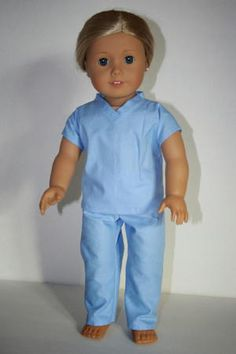 Clothes Patterns Girls - Free pattern Hospital scrubs for an American Girl doll American Girl Outfits, Ropa American Girl, American Girl Crafts, American Doll Clothes, American Girl Doll Hospital, American Clothing, Sewing Doll Clothes, Girl Doll Clothes, Girl Dolls