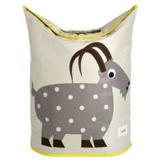 Folding hamper with two handles and a goat motif.  Um. Why?