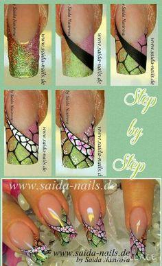 Saida Nails tutorial #nails #nailart #stepbystep - repinned by http://www,naildesignshop.nl