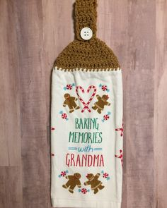 Crocheted Top Dish Towel  - Gingerbread by HandMadeInMadison on Etsy