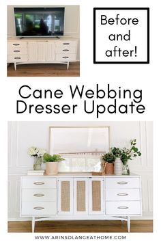 Here is a simple, easy DIY project you can do! Update an old dresser with some paint and cane webbing. See how to do it with this step by step tutorial! Great way to add storage and style to a living room or bedroom or hallway. Mid Century Modern Dresser, Mid Century Modern Furniture, Diy Furniture Redo, Furniture Design, Diy Home Decor Projects, Easy Diy Projects, Old Dressers, Decorating Your Home, Diy Design