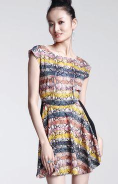RACHEL by Rachel Roy Dress - Short-Sleeve Boatneck Python-Print Striped