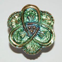 Czech Glass Button: Green and Gold Flower - Iridized Glass Button