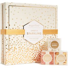 Sugarfina Sparkling Holiday Bento Box (€44) ❤ liked on Polyvore featuring home, kitchen & dining, food storage containers, gold and sugarfina