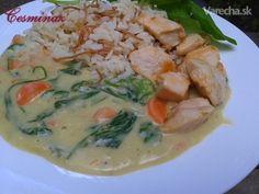 Špenátovo-mrkvová omáčka s ryžou a prsiami (fotorecept) - Recept