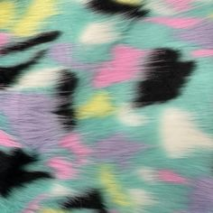 60 Sold By The Yard Puzzled Multicolor Faux Fur Apparel Crafting Upholstery Fabric