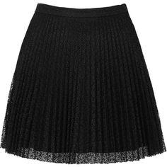 TOPSHOP Black Lace Pleat Mini Skirt ($20) ❤ liked on Polyvore featuring skirts, mini skirts, bottoms, saias, faldas, black, short mini skirts, pleated miniskirt, pleated mini skirt and lacy skirt
