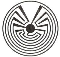 native american symbol: Hopi Tapuat – the mother child symbol. The lines represent stages of life, umbilical cord, and the path of moving – always within the watchfulness of the Mother. The center symbolizes the amniotic sack – the center of life – the beginning. This piece is also refered to as the Journey Symbol