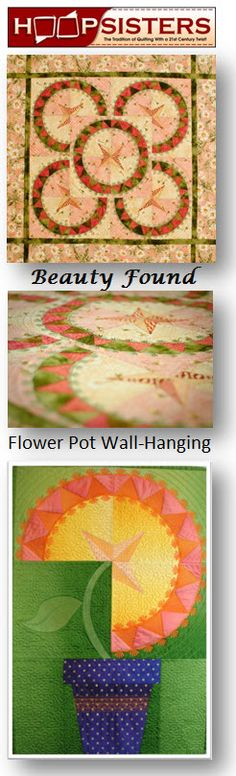 """Beauty Found"", a quilt in the hoop design by HoopSisters now includes an adorable Flower Pot Wall-Hanging! $40"