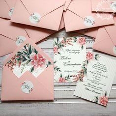 """Купить Приглашение в конверте """"Розовые цветы"""" - бледно-розовый, розовый, приглашения на свадьбу, приглашение, pink, flowers, invitation, wedding, stationery, приглашения, свадьба"""