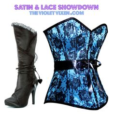 Lace Stand-off! Black satin heels layered in lace and heart shaped ties paired with a blue satin corset overlaid in black floral lace with ribbon waist.   corset: http://thevioletvixen.com/corsets/satin-queen-turquoise-floral/ boot: http://thevioletvixen.com/boots/gothic-valentine-boots/ #corset #steelboned #ribbonsandlace #corsetry